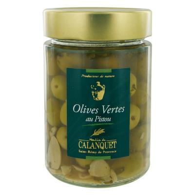 Olives vertes au Pistou