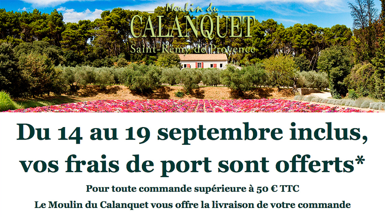 Frais de Port offert du 14 au 19 septembre inclus sur la boutique en ligne